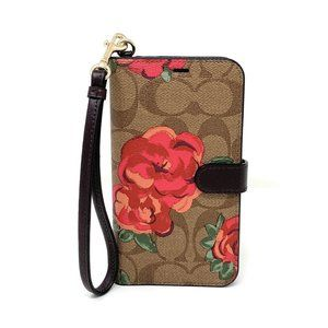 Coach Signature Neon Flower iPhone X/XS Folio NWT